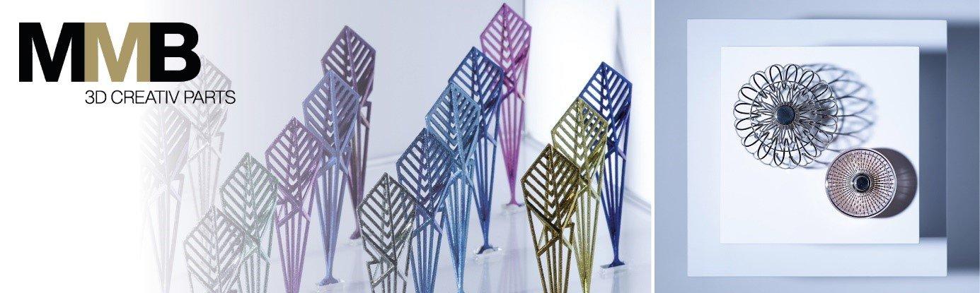 MMB, créateur de matériaux haute finition en fabrication additive, présente le flacon « Formes Libres » et son capot en titane anodisé.