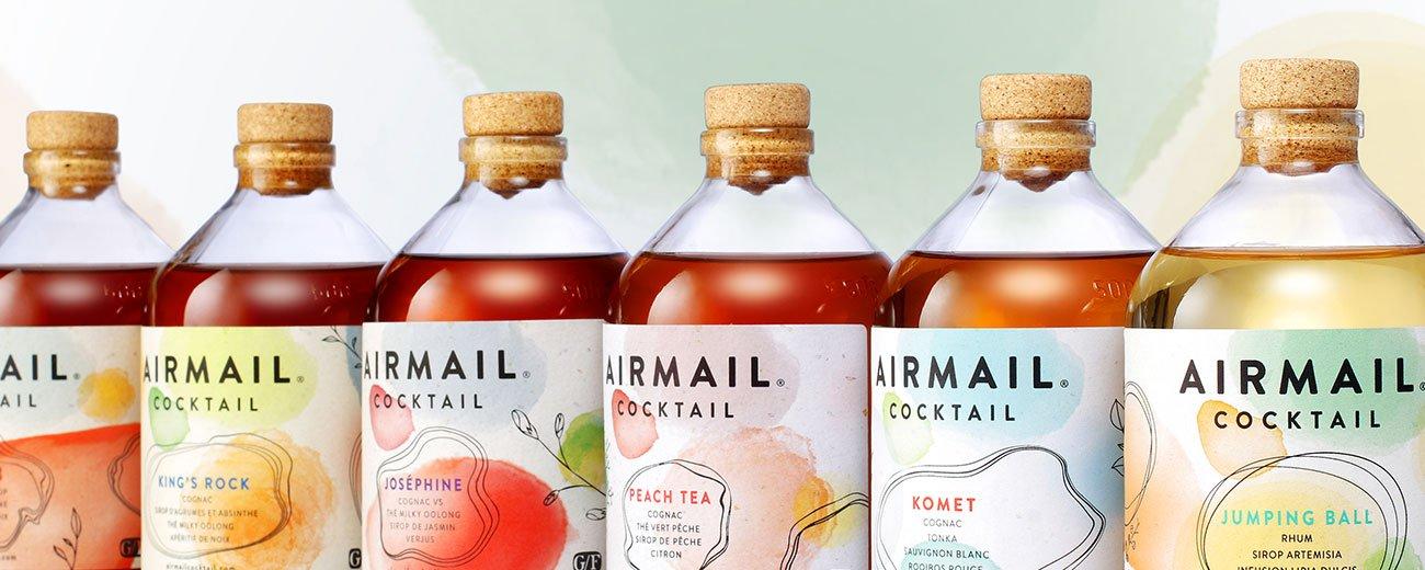 La Maison Linea crée l'identité des ready-to-drink Airmail Cocktail